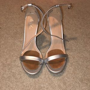 Silver strapy heels